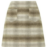 Checked A-Line Skirt - Camel