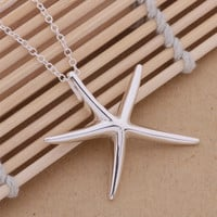 Large Whimsical Starfish Pendant Sterling Silver Necklace