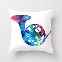 Colorful French Horn 2 - Cool Colors Abstract Art Sharon Cummings Throw Pillow by Sharon Cummings