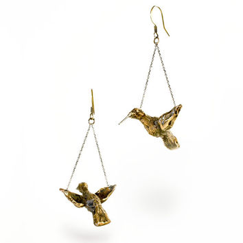 Bronze, Hand-sculpted, Flying, Hummingbird, Dangly, Unique, Artful Drop Earrings
