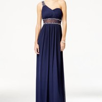 City Studios Juniors' One-Shoulder Illusion Gown | macys.com