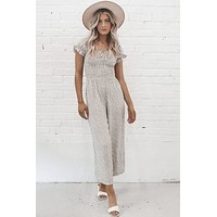 Deep Breath In The Sun Taupe Jumpsuit