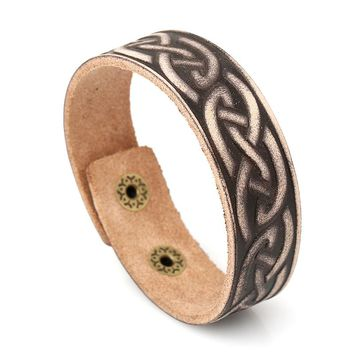 MYTHIC AGE Cool Punk Genuine Leather Twisted Vine Vintage Bracelet Bangle Cuff Jewelry Bijouterie For Men Women