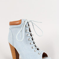 Qupid Denim Peep Toe Work Bootie