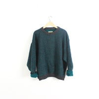 Retro super thick and chunky wool sweater.  Oversized, slouchy, vintage. Pullover. Crewneck. Norway. Warm and Heavy. Gray/Teal. XL