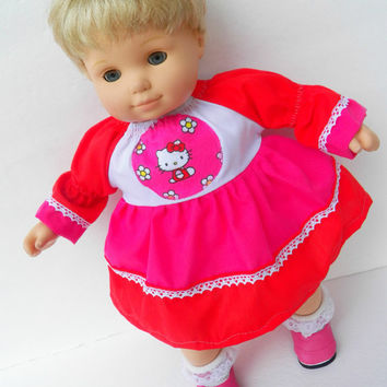 "American Girl 18"" or Bitty Baby Clothes 15"" Doll Clothes Red Pink White Kitty Cat Kitten Long Sleeve Peasant Dress"