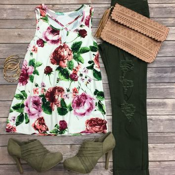 Radiant in Roses Top: White