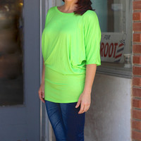 Lime Green Short Sleeve Dolman Top