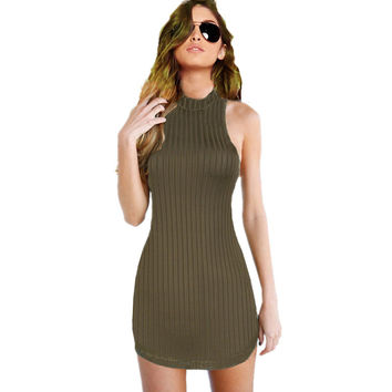 New Womens Olive Green Stripped Halter Bodycon Dress Mini Club Party Dress