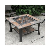 Fire Pit Coffee Table Square Tile Top Wood Burning Brown Outdoor Patio Deck