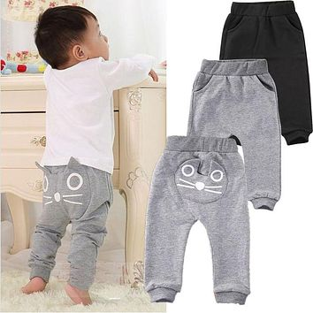Animal Bottoms Clothes Cute Cat Baby Kids Boys Girls Pants Cotton Warm Clothing Trousers 3-24M Black Gray Pants
