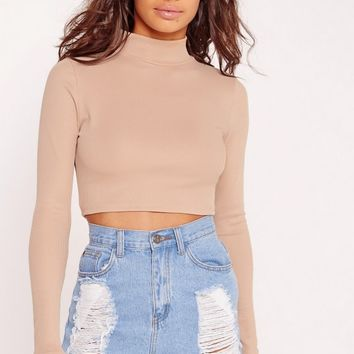Missguided - Petite High Neck Ribbed Crop Top Camel