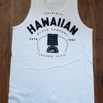 "Hawaiian Style ""Authentic Jams"" Mens White Tank Top"