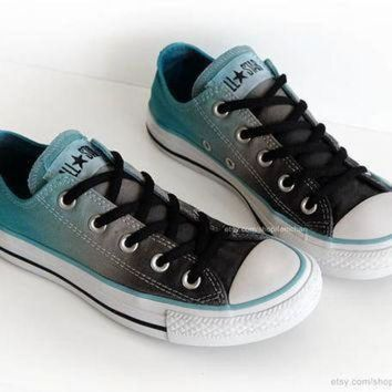 DCCK1IN ombr dip dye converse graphite grey turquoise low tops tie dye sneakers upcycled