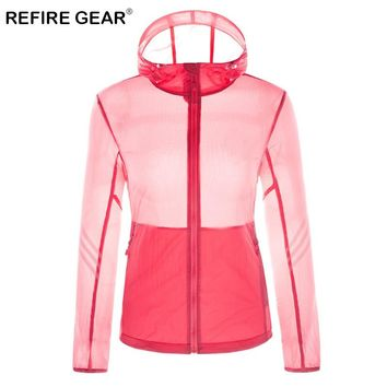ReFire Gear Summer Sun Protective Breathable Skin Jacket Women Waterproof Windproof Quick Dry Jacket Hooded Outdoor Sport Jacket