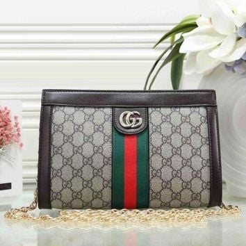 DCCKJ1A Gucci ladies trendy leather handbag Messenger bag F Coffee