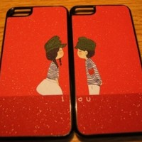 1 Pair Romantic Lovers Couple Hard Thin Cartoon Case Covers for Iphone 5.Free screen protector film