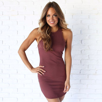 Full Control Bodycon Dress In Plum