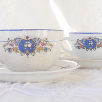 Antique Set of 2 Lovebirds Teacups and Saucers, Salem China Co., Rare