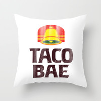 Taco Bae Vintage Print Throw Pillow by RexLambo
