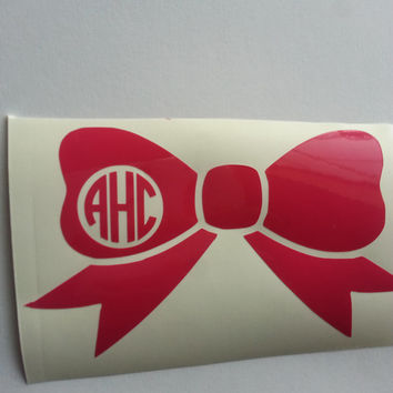 Monogram Bow Vinyl Car Decal Sticker