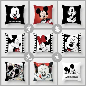 10 Styles 40*40cm 3D Mickey Mouse Pillow Minnie Mouse Pillow Case Mickey and Minnie Children's Cartoon Pillow Cover