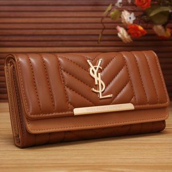YSL Yves Saint Laurent Women Fashion Shopping Leather Buckle Wallet Purse-4