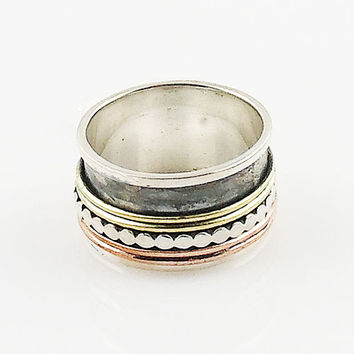 Spinner Ring - Three Tone Rimmed Edge
