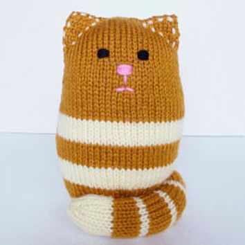 Hand Knit Sitting Cat Stuffed Animal, Ready To Ship, Toddler Boy or Girl, Baby Shower Gift, Plush Doll, Infant Nursery Shelf Decor 7 1/2""