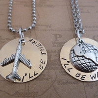BRASS Long distance relationship or His & Her Necklaces and Charms -  I'll Be There - I'll Be Waiting