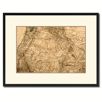 Us Pacific Northwest Vintage Antique Map Wall Art Home Decor Gift Ideas Canvas Print Custom Picture Frame