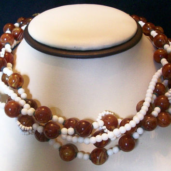MIRIAM HASKELL Jewelry Necklace 4-Strand Bead Flower Brown White Glass Bib Collar