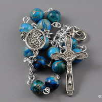 Dyed Imperial Jasper Blue Catholic 1 Decade Pocket Auto Rosary