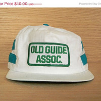 SALE Vintage White Old Guide Assoc. Trucker Baseball Cap Hat