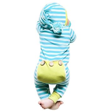 Baby Girl Romper Winter Autumn Funny Hairball Hooded Infant Boy Jumpsuit Rompers Long Sleeve Stripe Kids Newborn Clothes Outfits