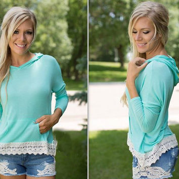Sky Blue Lace Hoodie Pocket Shirt
