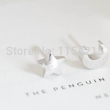 2016 New Fashion Gold Silver and Rose gold cute teens monn and star stud earring girls studs EY-E020