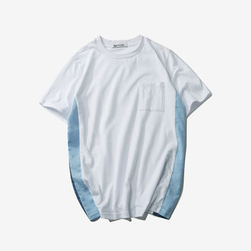 Short Sleeve Summer Cotton Round-neck Casual Patchwork T-shirts [9790804867]