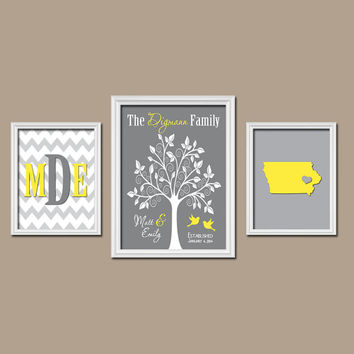 Gray Yellow Family Tree Custom Wall Art CANVAS City State Couples Monogram Initial Letter Bird Tree Set of 3 Trio Prints Wedding Anniversary