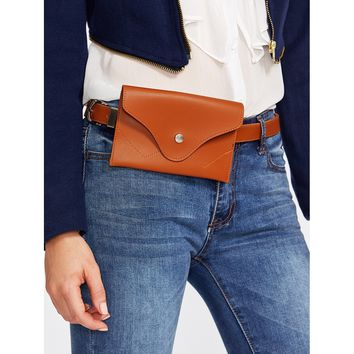 Faux Leather Belt With Pouch Camel