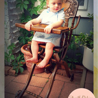 Vintage Antique High Chair Burled Oak with Cane Seat and Wheels Vintage Baby Chair Or Baby Shower Gift