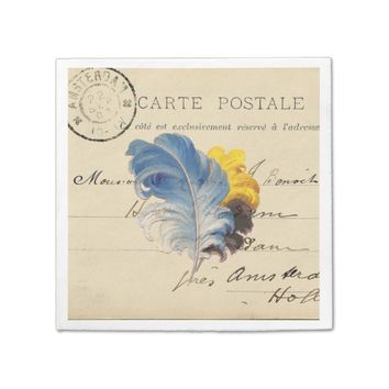 Vintage Blue Yellow Feather French Postcard Napkin
