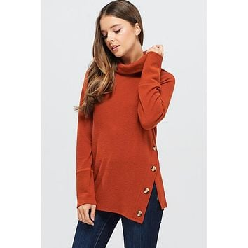 Cozy Calls Asymmetrical Cowl Neck Top - Rust