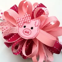 Large Pink Hair Bow Headband - Pig Hair Bow - Pink Piggy Headband - Loopy Hair Bow in Pink - Toddler Head Band Photo Prop