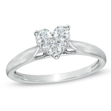 1/3 CT. T.W. Diamond Heart Cluster Ring in 10K White Gold