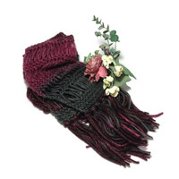 Knit Scarf, Burgundy Scarf, Gray Scarf, Hand Knit Scarf, Jasper Colors, Fashion Scarf, Fiber Art, Winter Scarf, Christmas, Gift For Her