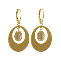 Gold Plated with CZ Avocado Earrings