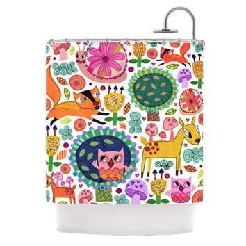 "Jane Smith ""Woodland Critters"" Colorful Cartoon Shower Curtain"