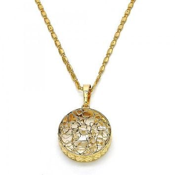 Gold Layered 04.63.1356.18 Fancy Necklace, Heart Design, with White Cubic Zirconia, Diamond Cutting Finish, Golden Tone