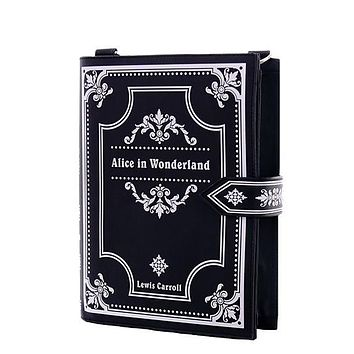 Gothic Lolita Alice in Wonderland Book Shape Crossbody Clutch Bag - Black